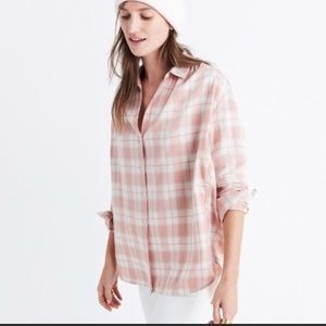Madewell pink plaid button down XS
